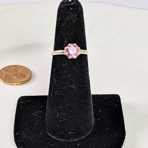 Jewelry - 🌜3 for $25🌛Gold Tone Pink CZ Stone Ring Sz 5.5